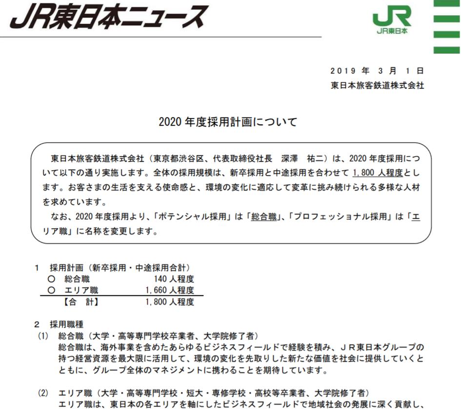 JR東日本 2020年度採用計画発表 採用する人材に大きな変化 「総合職」「エリア職」に名称変更