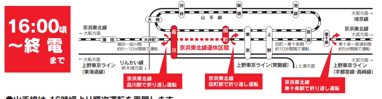 【JR東日本】田町~品川間線路切替工事の臨時ダイヤ・振り替え輸送のコツをまとめ 一部区間で京浜東北線は終日運休 山手線は16時まで運休