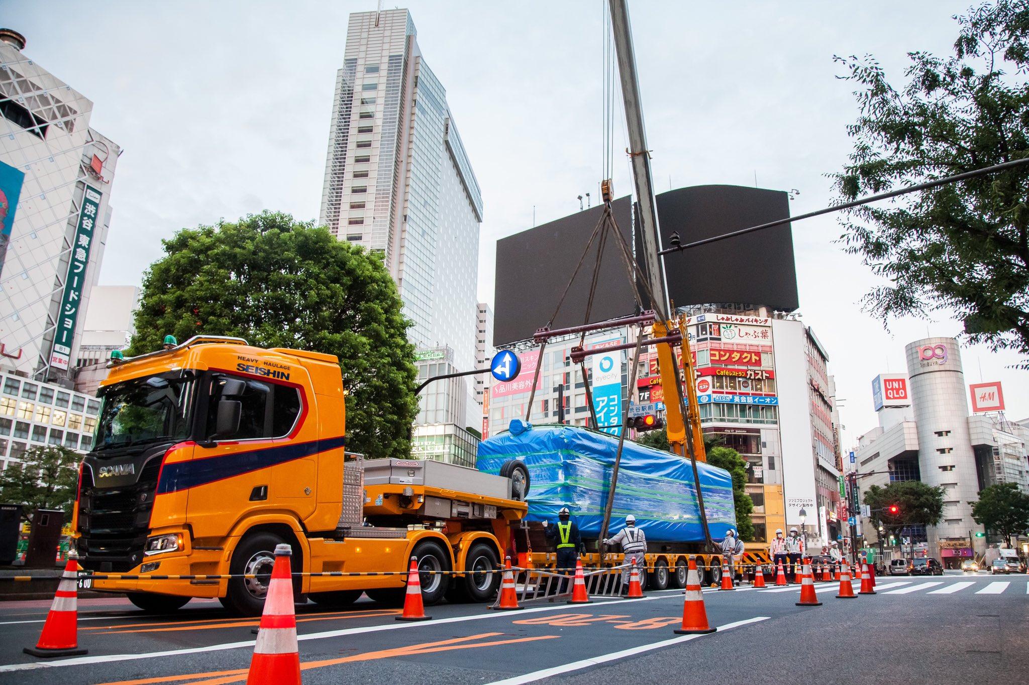 【青ガエル陸送】渋谷を旅立ち秋田県大館市へ 牽引トレーラー「スカニア」にも注目が
