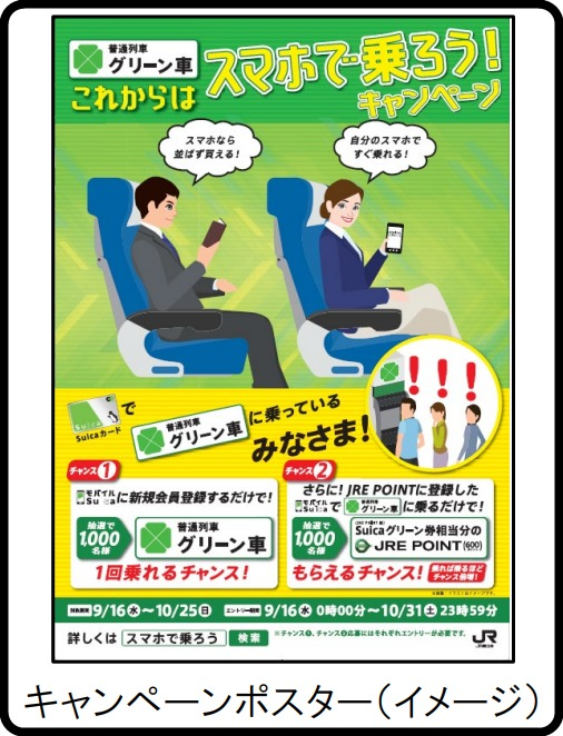 【抽選で普通列車グリーン車1回無料】モバイルSuicaで9月から10月まで実施