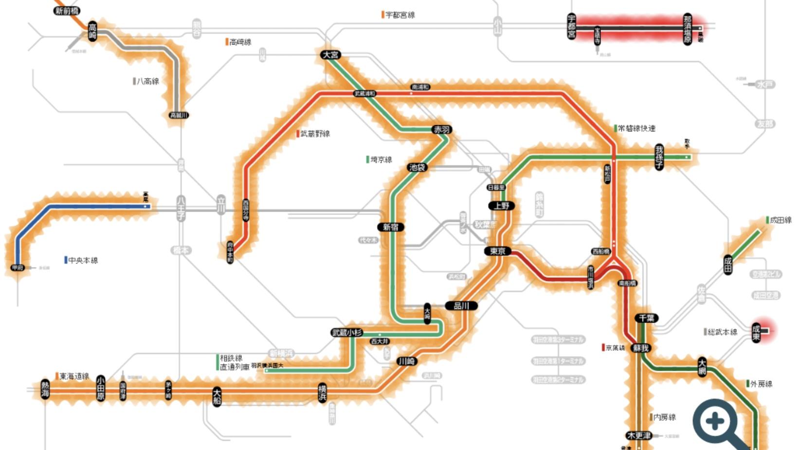 【強風で首都圏大混乱】武蔵野線が40分間隔に 14駅38.4km区間に1本も在線なし 東海道線は超過密に