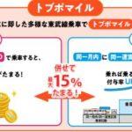 【改悪】東武鉄道、回数券販売終了、「トブポマイル」に移行へ