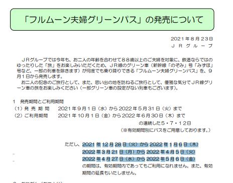 フルムーンパス2021年度版発売 グリーン車乗り放題