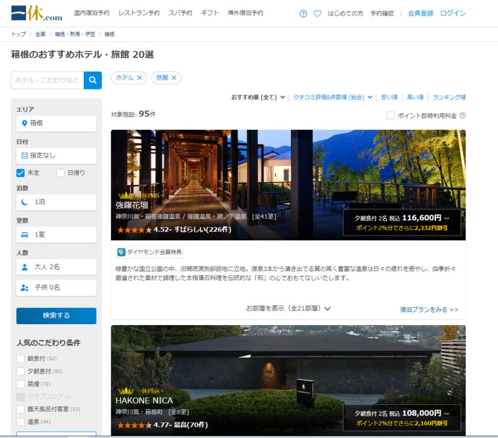 【異常事態】箱根の人気の宿が1人あたり1.5万円のプランも コロナで価格崩壊か